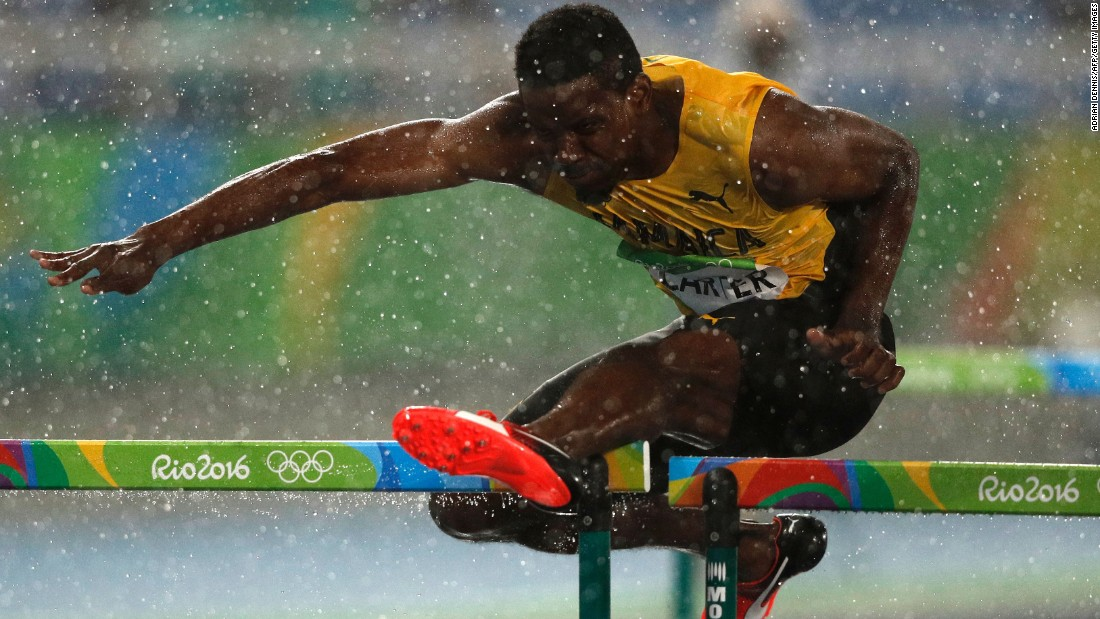 Jamaica's Deuce Carter competes in the 110-meter hurdles.