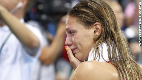 TOPSHOT - Russia's Yulia Efimova cries after she placed second in the Women's 100m Breaststroke Final during the swimming event at the Rio 2016 Olympic Games at the Olympic Aquatics Stadium in Rio de Janeiro on August 8, 2016.   / AFP / Odd ANDERSEN        (Photo credit should read ODD ANDERSEN/AFP/Getty Images)