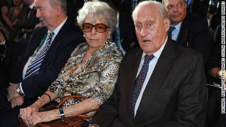 RIO DE JANEIRO, BRAZIL - JULY 30: FIFA Honorary President Joao Havelange (R) sits with his wife during the Preliminary Draw of the 2014 FIFA World Cup on July 30, 2011 in Rio de Janeiro, Brazil.  (Photo by Michael Regan/Getty Images)