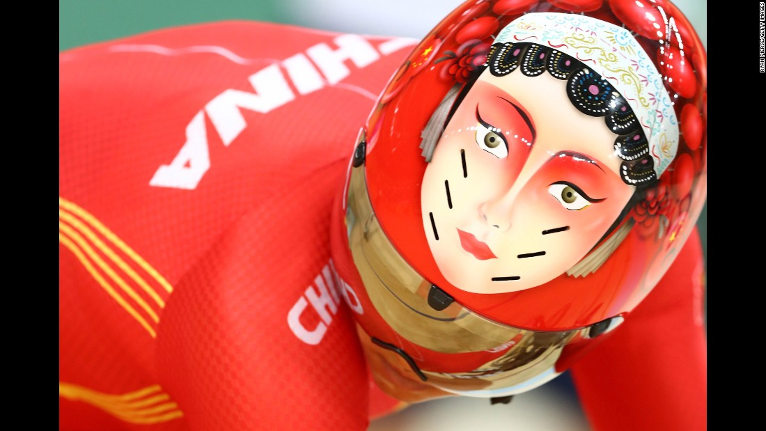 Chinese cyclist Tianshi Zhong competes in a sprint quarterfinal.