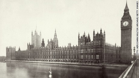 Circa 1865:  The Houses of Parliament or Westminster Palace on the Thames Embankment, London, built in 1840 - 1965 by Charles Barry and A W Pugin.  (Photo by Otto Herschan/Getty Images)