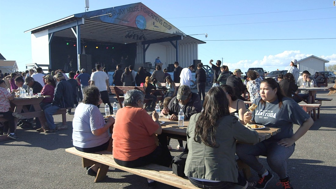 Hundreds gathered at a community fish fry at Norway House in May. Folster spoke to the gathering about what the leadership is doing to prevent sex trafficking in the community.