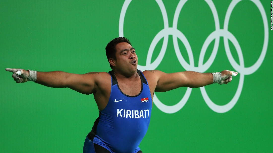 David Katoatau of Kiribati dances during the 105-kilogram (231-pound) weightlifting final on Monday, August 15. He finished sixth overall.