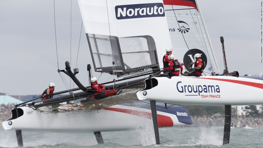 Groupama Team France's yacht takes flight as it races in Portsmouth in July. The 2015-16 World Series has allowed teams to gather racing data from the AC45 catamarans as they fine-tune the AC50 designs.