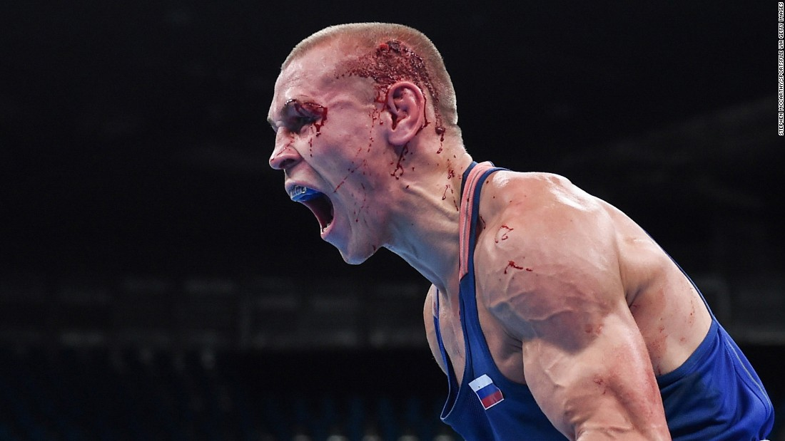 Russian boxer Vladimir Nikitin celebrates after his bantamweight victory over Ireland's Michael Conlan.