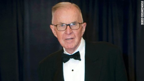 "FILE - In this April 28, 2012 file photo, John McLaughlin arrives at the White House Correspondents' Association Dinner in Washington. McLaughlin, the conservative political commentator and host of the namesake long-running television show that pioneered hollering-heads discussions of Washington politics, died Tuesday, Aug. 16, 2016, according to the Facebook page for ""The McLaughlin Group."" He was 89. (AP Photo/Kevin Wolf, File)"