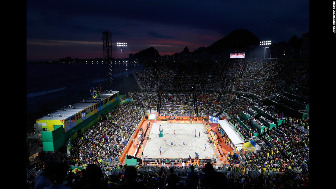 A general view of the beach volleyball venue.