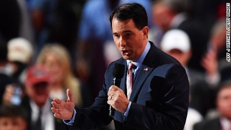 Wisconsin Gov. Scott Walker delivers a speech on the third day of the Republican National Convention on July 20, 2016 at the Quicken Loans Arena in Cleveland, Ohio.