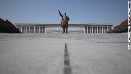 PYONGYANG, NORTH KOREA - APRIL 03:  The Immortal Statue of Kim Il Sung monument is seen on April 3, 2011 in Pyongyang, North Korea. Pyongyang is the capital city of North Korea and the population is about 2,500,000.  (Photo by Feng Li/Getty Images)