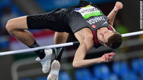 Canada's Derek Drouin on his way to a gold high jump medal in Rio.