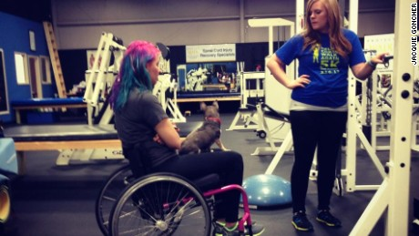 Jaquie Goncher has done physical therapy and intensive workouts to begin to walk again.