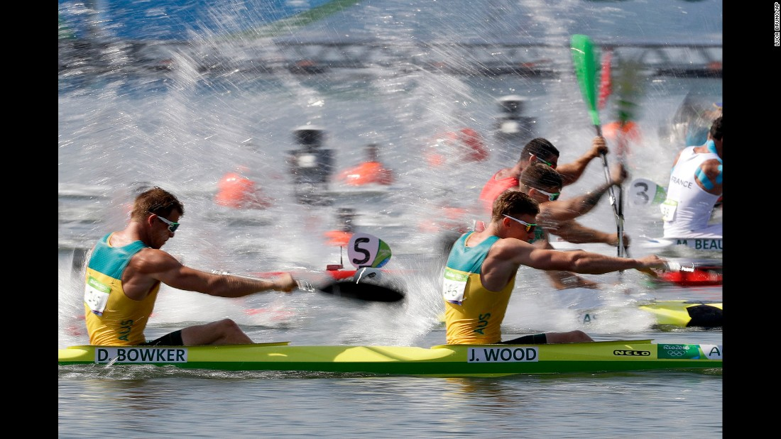 Australia's Daniel Bowker and Jordan Wood paddle during the K-2 200 meters.