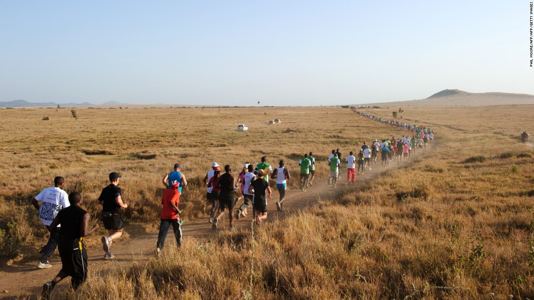 Runners participate in the fast-growing Safaricom Lewa marathon in Kenya. The government is targeting the lucrative sports tourism sector as an engine of economic recovery.