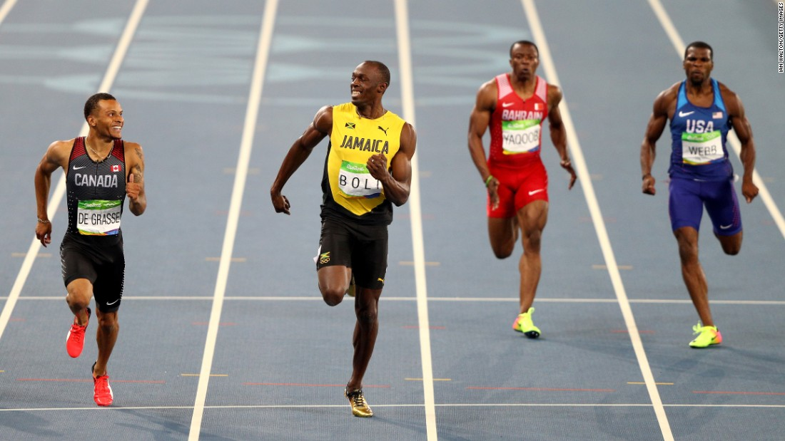 "Canada's Andre De Grasse, left, and Jamaica's Usain Bolt smile at each other during a 200-meter semifinal on Wednesday, August 17. Bolt <a href=""http://www.cnn.com/2016/08/17/sport/usain-bolt-justin-gatlin-200m-rio/index.html"" target=""_blank"">finished first,</a> just in front of De Grasse."