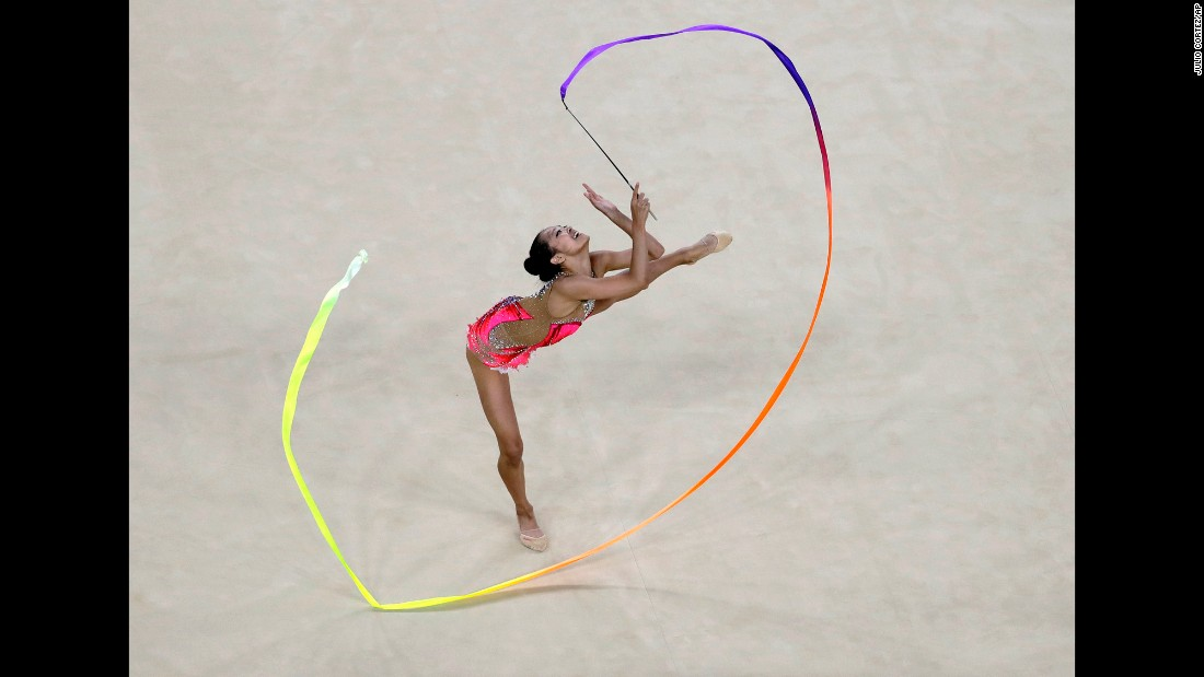U.S. rhythmic gymnast Laura Zeng practices her routine.