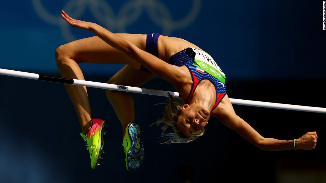Ana Simic of Croatia competes in the high jump qualifications.