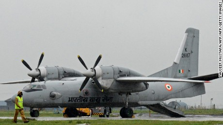 An Indian Air Force Antonov An-32 transport plane -- the same aircraft that is missing -- at an air base in Srinagar in 2014.