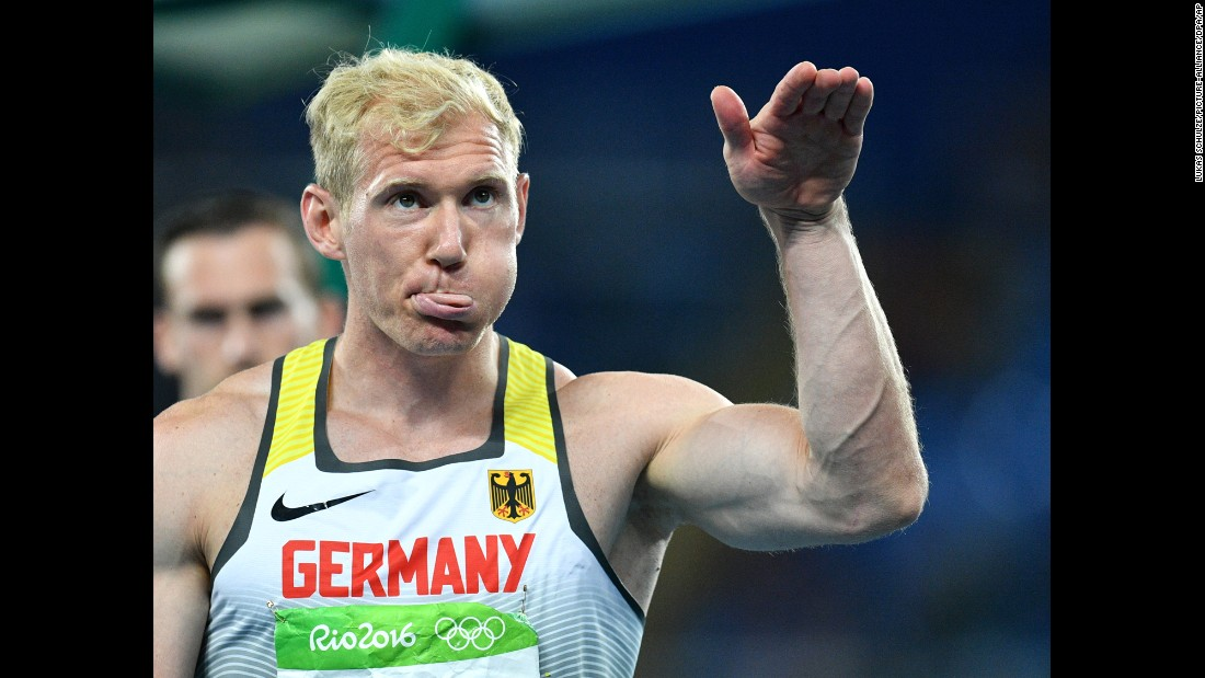 German decathlete Arthur Abele gestures during the javelin portion of the event.
