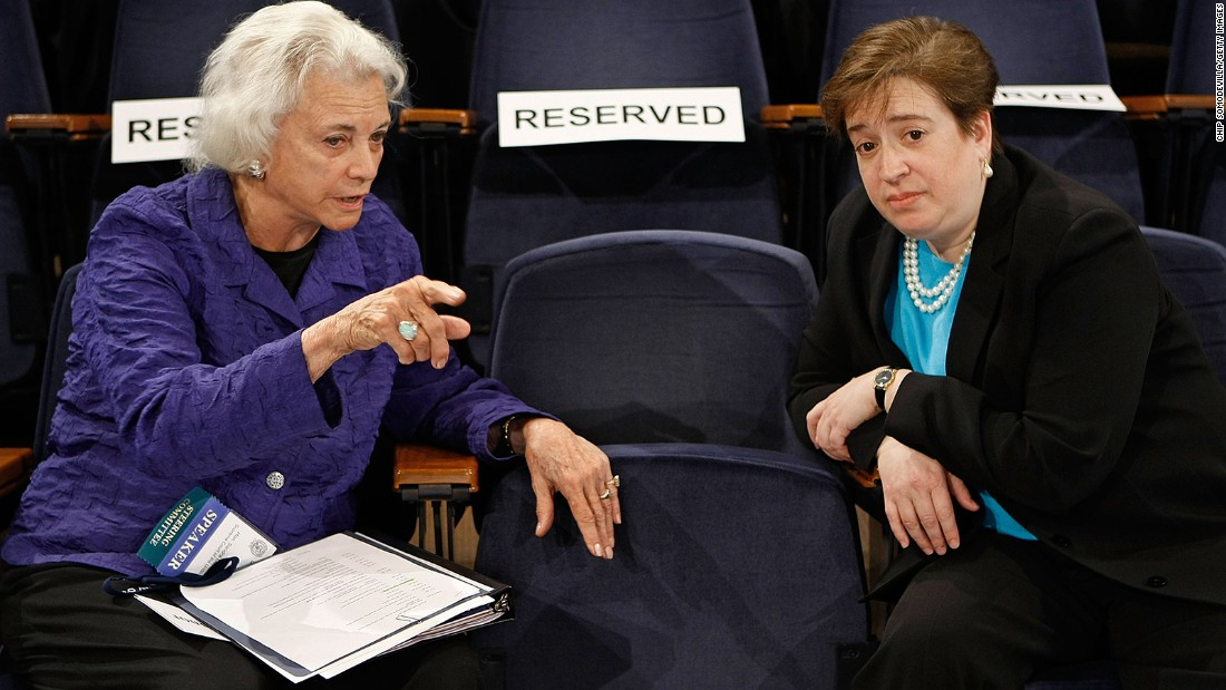 O'Connor talks with then-Solicitor General Elena Kagan at the Georgetown University Law Center in May 2009. Kagan would go on to join the Supreme Court after being nominated by President Barack Obama.