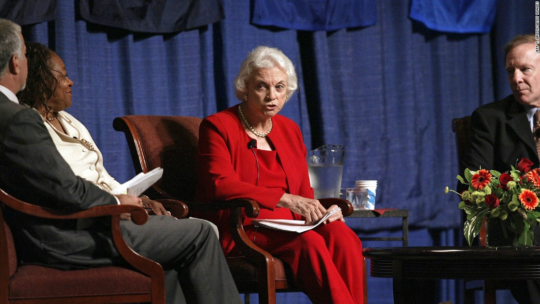 O'Connor talks at a judicial conference in Spokane, Washington, shortly after announcing her retirement in July 2005.