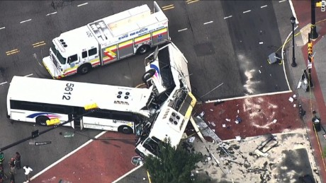 Two commuter buses crashed Friday in Newark, New Jersey.