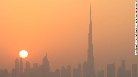 A view of Dubai's skyline at sunset in 2013. Dubai is one of seven emirates of the United Arab Emirates.