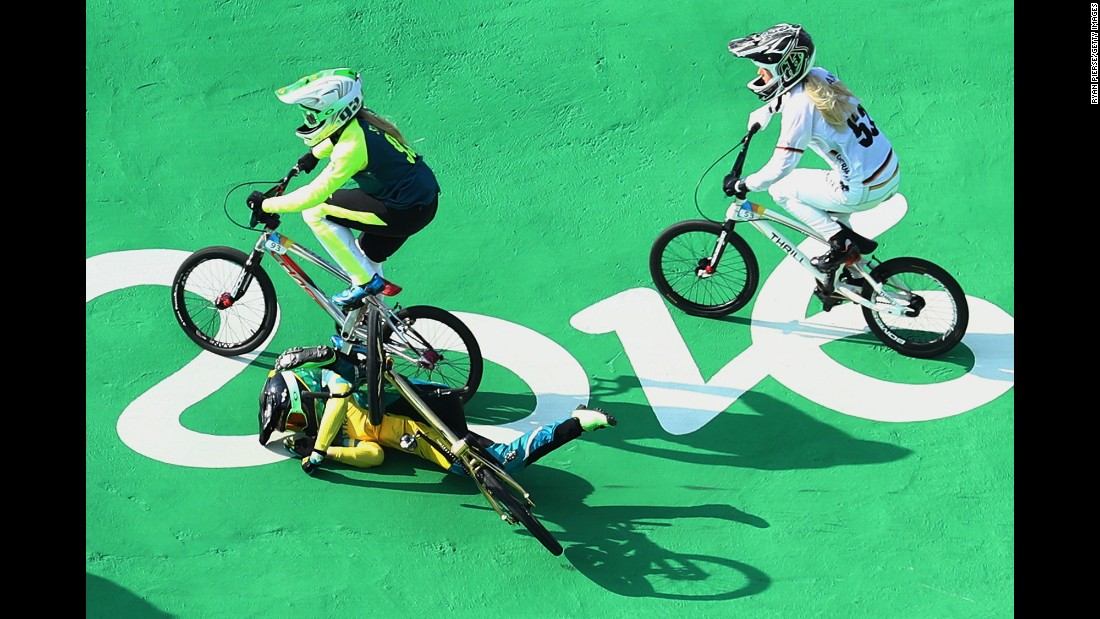 Australia's Caroline Buchanan crashes out of the BMX semifinals.