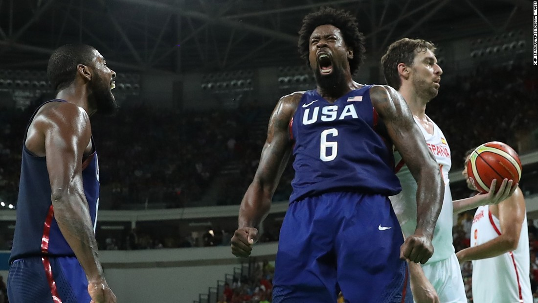 DeAndre Jordan (No. 6) celebrates a dunk during a semifinal victory against Spain. The Americans won 82-76 and will play Serbia in the gold-medal game.