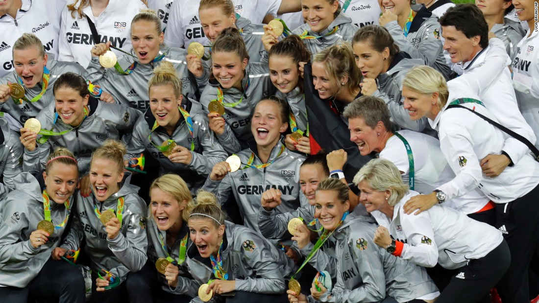 "Germany's soccer players pose with their gold medals after <a href=""http://www.cnn.com/2016/08/19/football/germany-sweden-football-olympics/index.html"" target=""_blank"">defeating Sweden 2-1 in the final.</a>"