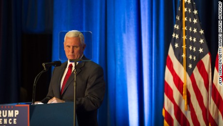 Republican Vice Presidential candidate Mike Pence introduces his running mate, Republican candidate for President Donald Trump, at a campaign event at the Kilcawley Center at Youngstown State University on August 15, 2016 in Youngstown, Ohio.