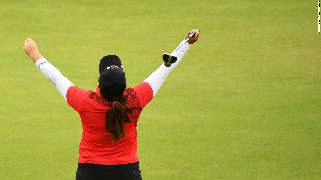 South Korean golfer Inbee Park reacts after winning gold.