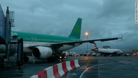 The women tweeted a picture from Dublin Airport as they boarded a plane to the United Kingdom