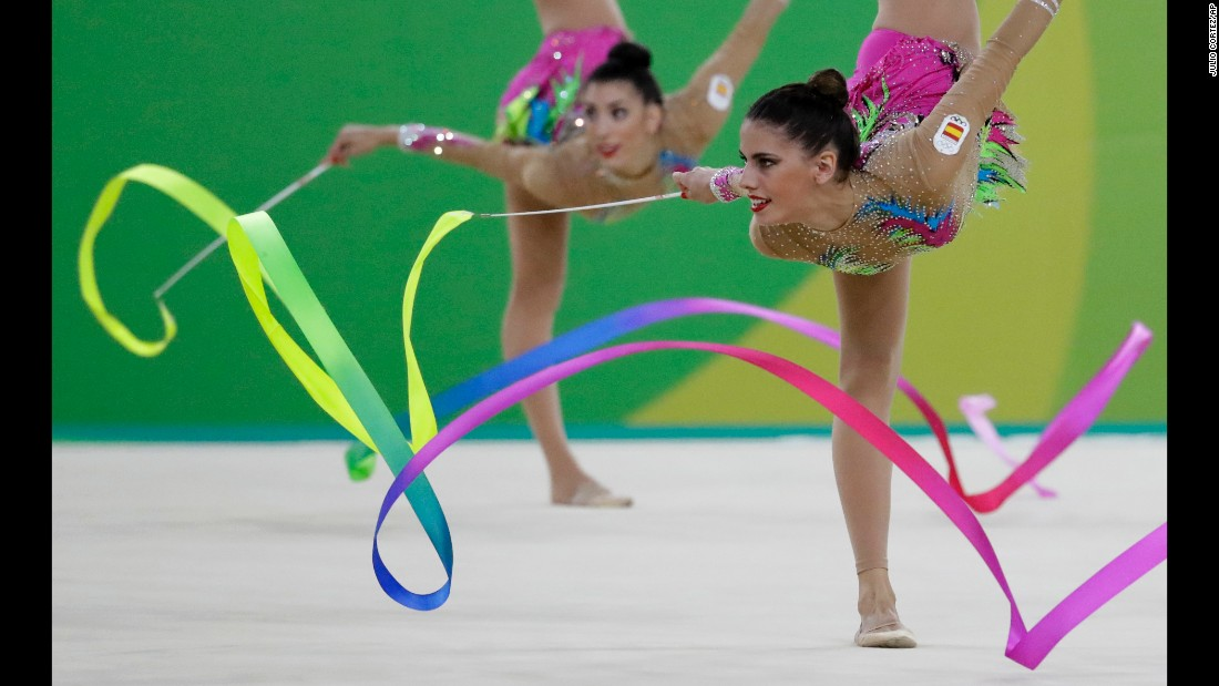 Rhythmic gymnasts from Spain perform in the team all-around final. They placed second, with Russia taking the gold and Bulgaria the bronze.