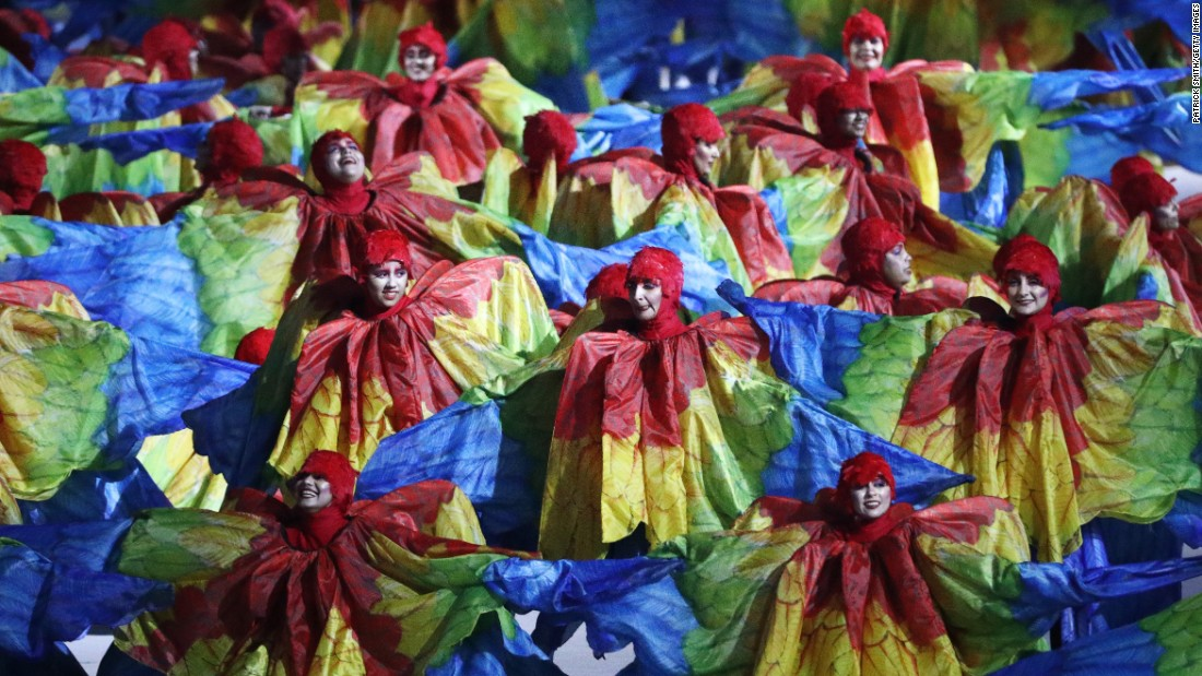 "Dancers perform in the ""Olympic Wings"" segment of the event."
