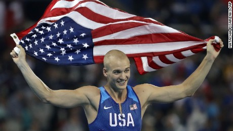 Bronze medal winner United States' Sam Kendricks celebrates after the final of the men's pole vault during the athletics competitions of the 2016 Summer Olympics at the Olympic stadium in Rio de Janeiro, Brazil, Monday, Aug. 15, 2016.