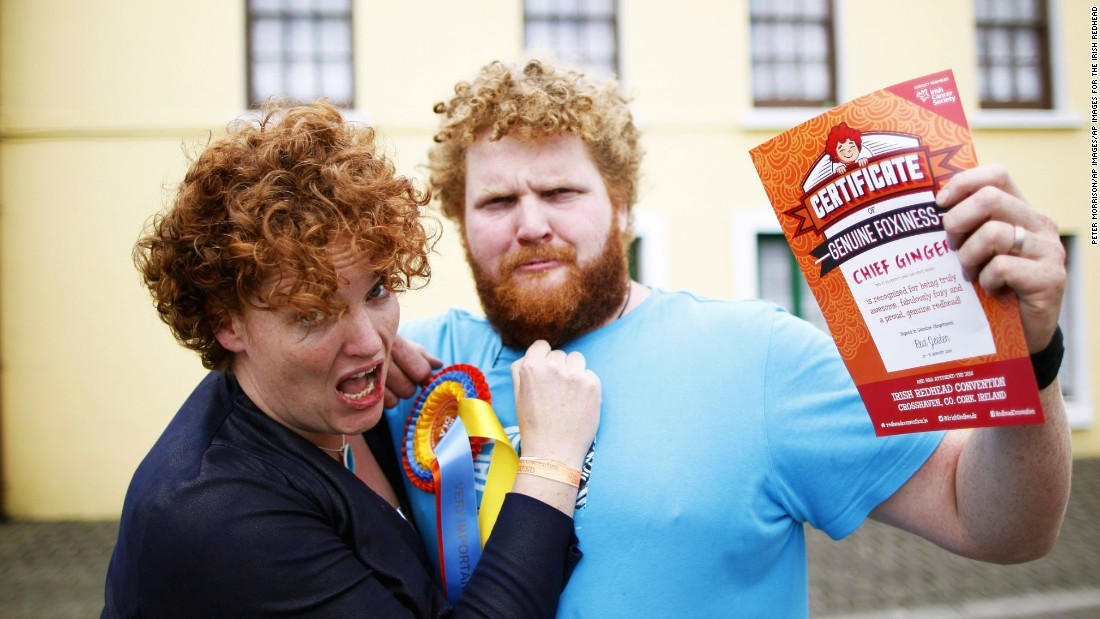 "The event's founder, Joleen Cronin, poses with her brother Dennas, also known as ""Chief Ginger."" The convention partners with the Irish Cancer Society to promote a message for all redheads and fair-skinned folks to cover up, wear sunscreen and be safe in the sun."