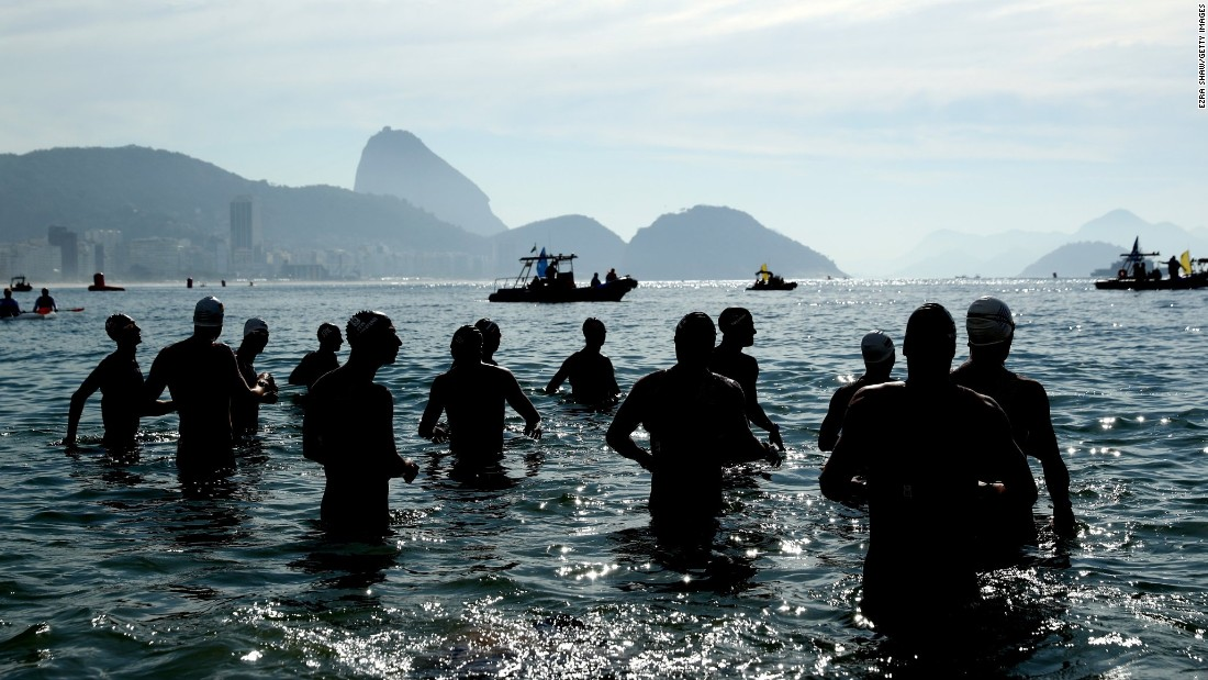 Athletes prepare for the 10-kilometer open-water swim on Tuesday, August 16.