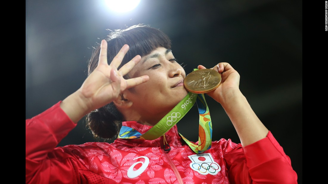 "Japanese freestyle wrestler Kaori Icho poses with her gold medal on Wednesday, August 17. She is <a href=""http://www.cnn.com/2016/08/17/sport/kaori-icho-wrestling-rio/"" target=""_blank"">the first female athlete</a> to win individual events at four different Olympic Games."