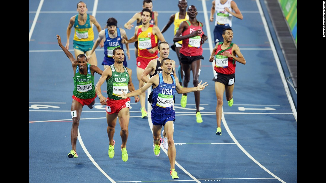 U.S. runner Matthew Centrowitz finishes first in the 1,500 meters on Saturday, August 20. He is the first American to win the event since 1908.