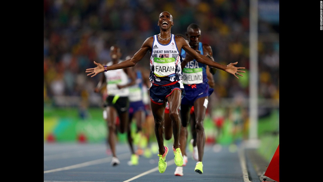 "Great Britain's Mo Farah reacts after winning gold in the 5,000 meters on Saturday, August 20. It completed his <a href=""http://www.cnn.com/2016/08/20/sport/mo-farah-olympics-rio-5000-meters-double-double/"" target=""_blank"">""double-double""</a> -- for the second straight Olympics, he finished first in the 5,000 and the 10,000."