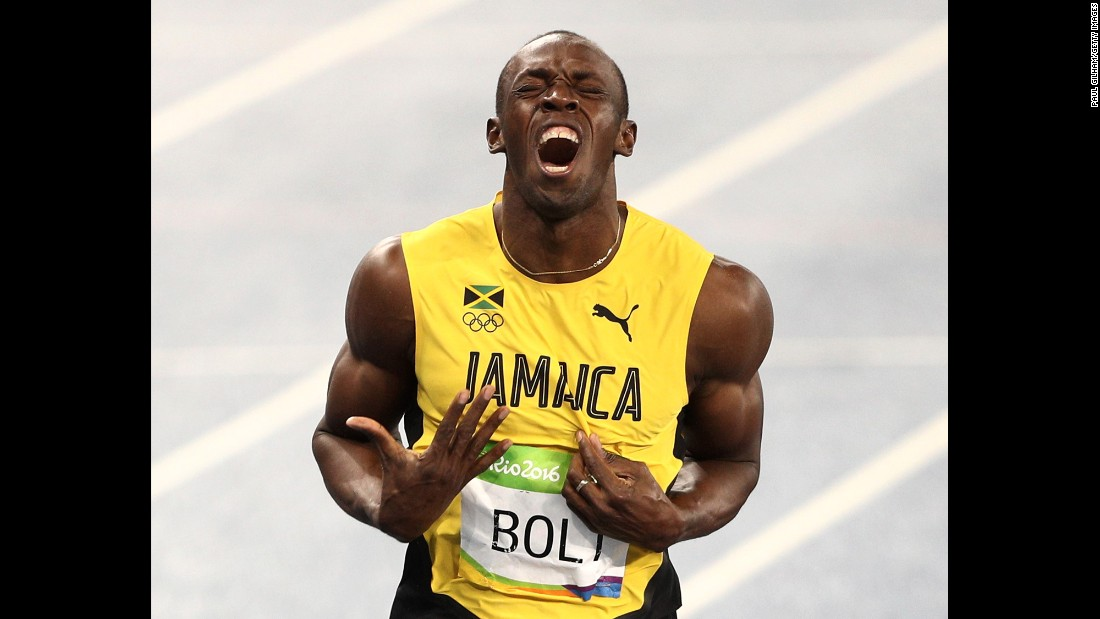 "Jamaica's Usain Bolt celebrates winning gold in the 200 meters on Thursday, August 18. By the end of the Rio Games, Bolt had achieved <a href=""http://www.cnn.com/2016/08/19/sport/usain-bolt-jamaica-mens-4x100m-relay-olympics-rio/"" target=""_blank"">an unprecedented ""triple-triple"":</a> three straight Olympic golds in the 100 meters, the 200 meters and the 4x100."