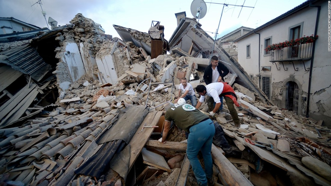 Residents search for victims in Amatrice.