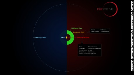 This infographic compares the orbit of the planet around Proxima Centauri (Proxima b) with the same region of the Solar System.