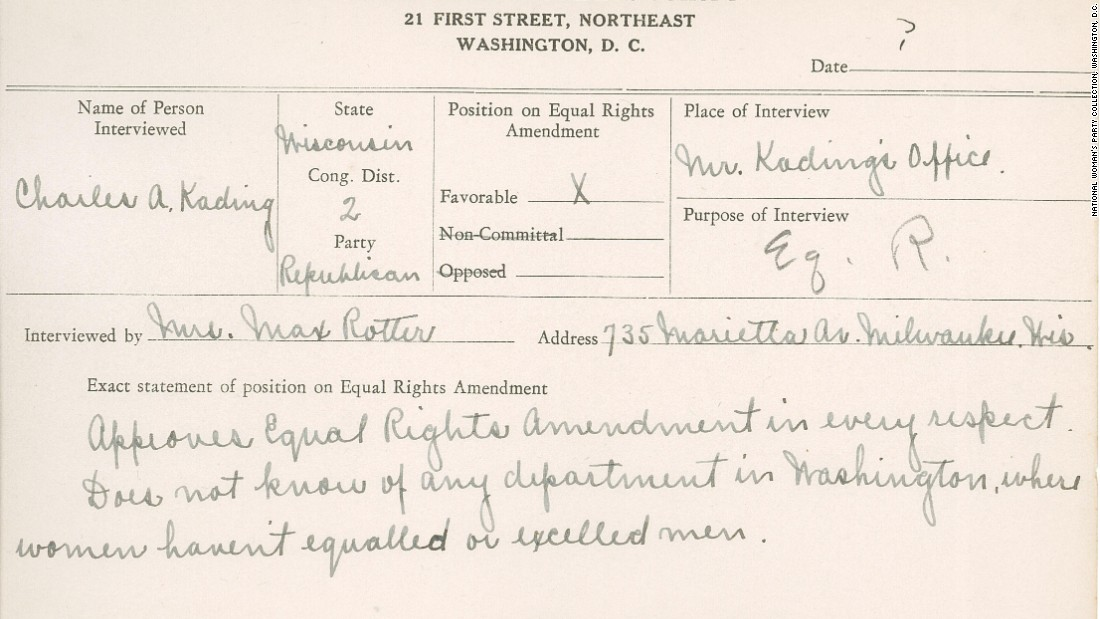"In this undated National Woman's Party congressional voting card, the interviewer writes that amendment supporter Republican Rep. Charles Kading of Wisconsin ""does not know of any department in Washington where women haven't equaled or excelled men."""