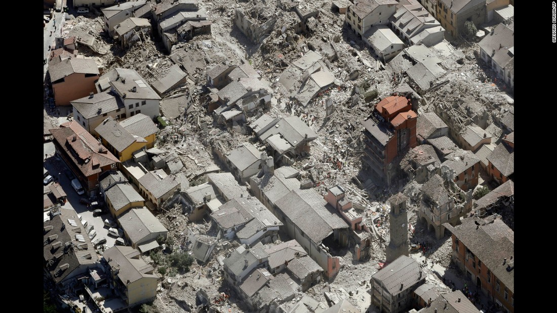 A bird's eye view of Amatrice shows the devastation after the deadly quake struck on Wednesday, August 24.