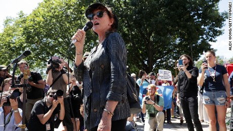 Susan Sarandon addresses a rally against the pipeline last week outside federal court in Washington.