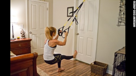 A TRX suspension trainer is a great solution to a space crunch.