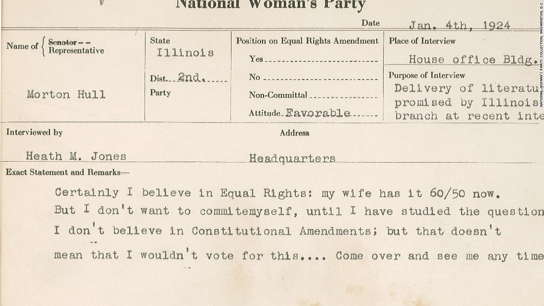"This 1924 National Woman's Party congressional voting card documents a meeting with Morton Hull of Illinois. Hull doesn't commit on the Equal Rights Amendment but says he supports women's rights. ""My wife has it 60/50 now,"" he tells his interviewer."