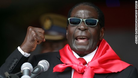 In this file photo Zimbabwe's President Robert Mugabe speaks during celebrations marking his 90th birthday in Marondera 2014.