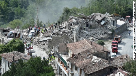The central Italian town of  Pescara del Tronto lies in ruins after Wednesday's deadly quake.